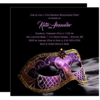 Elegant Black Purple Sweet 16 Masquerade Party Card