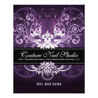 Elegant Black Purple & White Tones Vintage Frame 11.5 Cm X 14 Cm Flyer