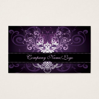 Elegant Black Purple & White Tones Vintage Frame 2 Business Card