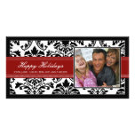 Elegant Black & Red Damask Custom Happy Holidays