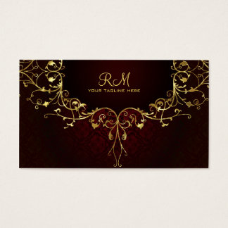 Elegant Black Red & Gold 2 Vintage Lace Frame Business Card