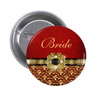 "Elegant black red gold ""damask wedding"" 6 cm round badge"