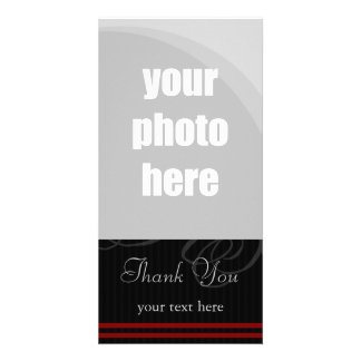 """Elegant Black/Red """"Thank You"""" Photo Card Template"""