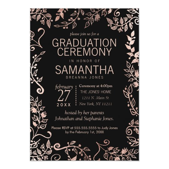 Elegant Black Rose Gold Floral Graduation Card