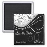 Elegant Black Save the Date Magnet