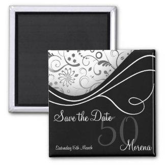 Elegant Black Save the Date Square Magnet