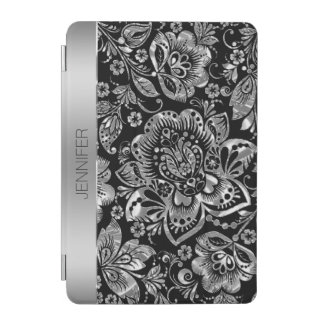 Elegant Black & Shiny Silver Vintage Damasks iPad Mini Cover