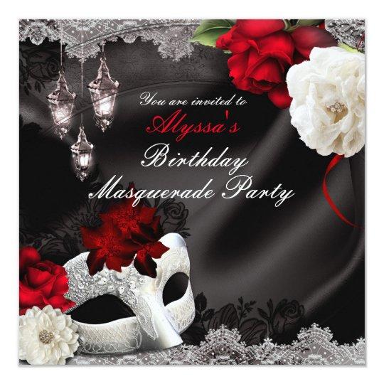 Elegant Black Silk Floral & Lace Masquerade Party