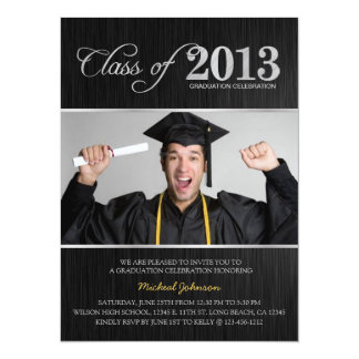 Elegant Black & Silver Class of 2013 Graduation 14 Cm X 19 Cm Invitation Card