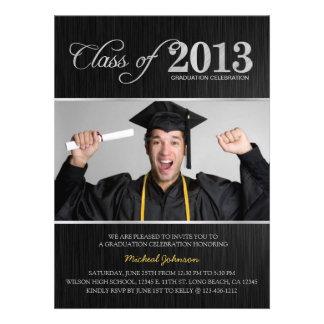 Elegant Black Silver Class of 2013 Graduation Custom Invite
