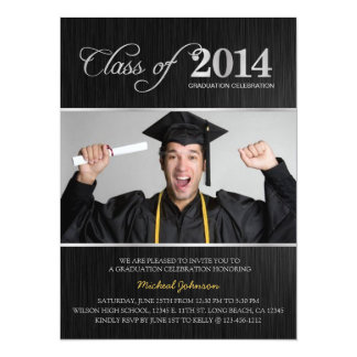 Elegant Black & Silver Class of 2014 Graduation 14 Cm X 19 Cm Invitation Card