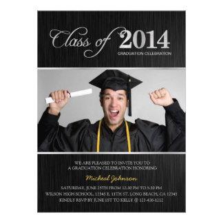 Elegant Black Silver Class of 2014 Graduation Invitation