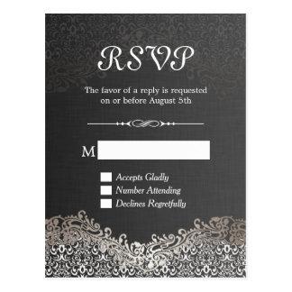 Elegant Black Silver Damask RSVP Reply Card Postcard