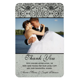 Elegant black silver damask wedding thank you magnet