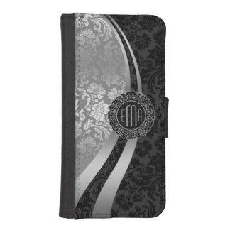Elegant Black & Silver Damasks Dynamic Stripes