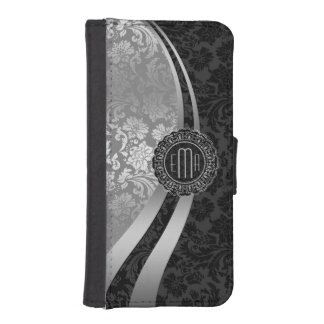 Elegant Black & Silver Damasks Dynamic Stripes iPhone SE/5/5s Wallet Case