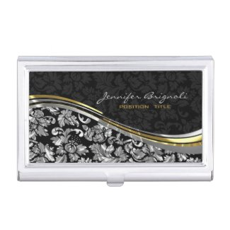 Elegant Black & Silver Damasks Gold Accents Business Card Holders