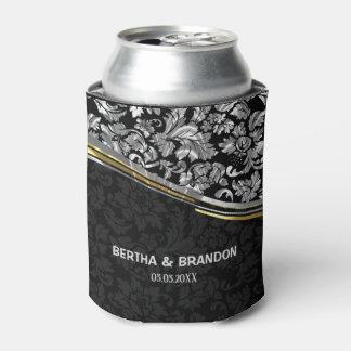 Elegant Black & Silver Damasks Gold Accents Can Cooler