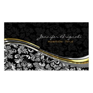 Elegant Black & Silver Damasks Gold Accents Pack Of Standard Business Cards