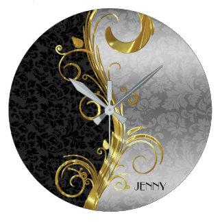 Elegant Black Silver Damasks Gold Swirls Large Clock