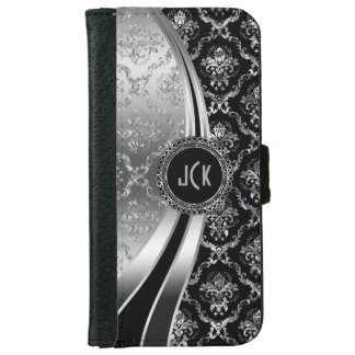 Elegant Black & Silver Floral Damask iPhone 6 Wallet Case