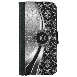Elegant Black & Silver Floral Damask iPhone 6 Wallet Case