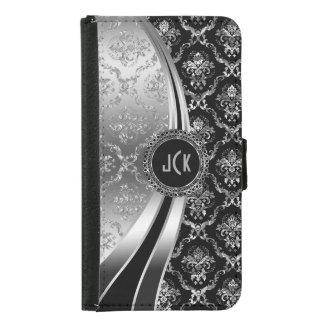 Elegant Black & Silver Floral Damask Samsung Galaxy S5 Wallet Case