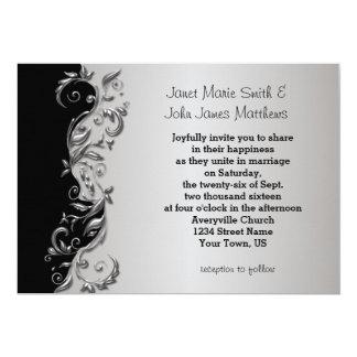 Elegant Black & Silver Florid Wedding Design 13 Cm X 18 Cm Invitation Card