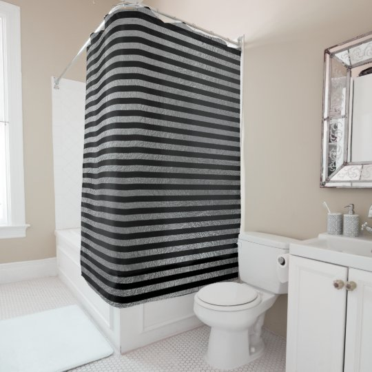 Elegant Black Silver Gray Minimal Big Stripes Larg