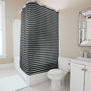 Elegant Black Silver Gray Minimal Stripes Lines Shower Curtain