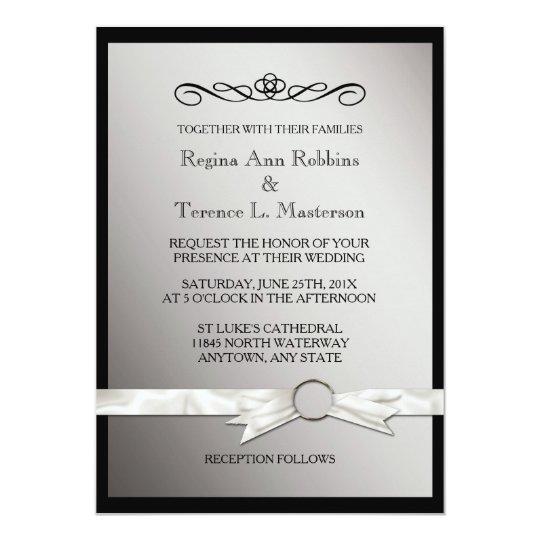 Elegant Black Silver Ribbon Wedding Card