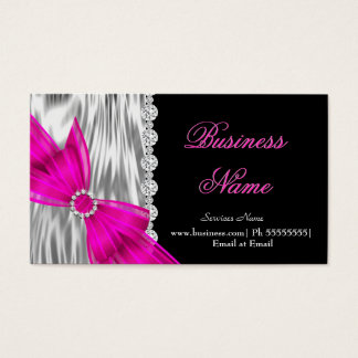 Elegant Black Silver Silk Hot Pink Bow Business Card