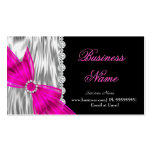 Elegant Black Silver Silk Hot Pink Bow Pack Of Standard Business Cards