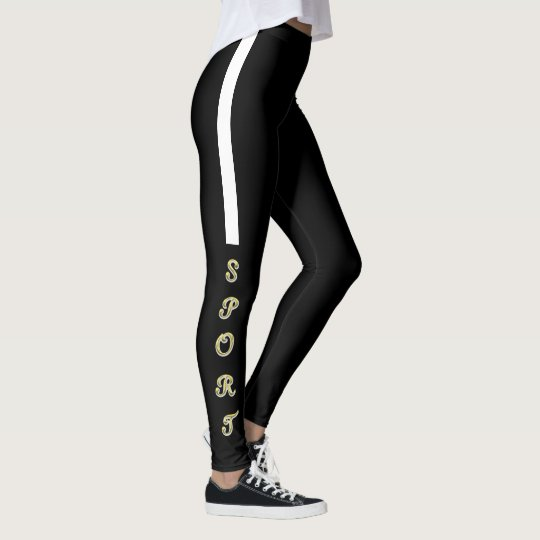 Elegant black sport put-went leggings