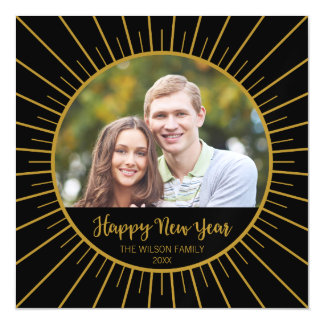 Elegant Black Starburst Happy New Year Magnetic Invitations