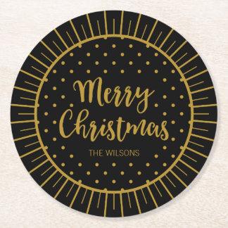 Elegant Black Starburst Script Merry Christmas Round Paper Coaster