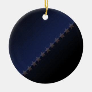 Elegant black stars and colorful stripes christmas ornaments