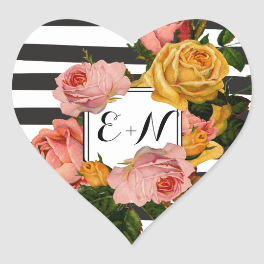 Elegant Black Stripe Heirloom Roses Wedding Heart Sticker