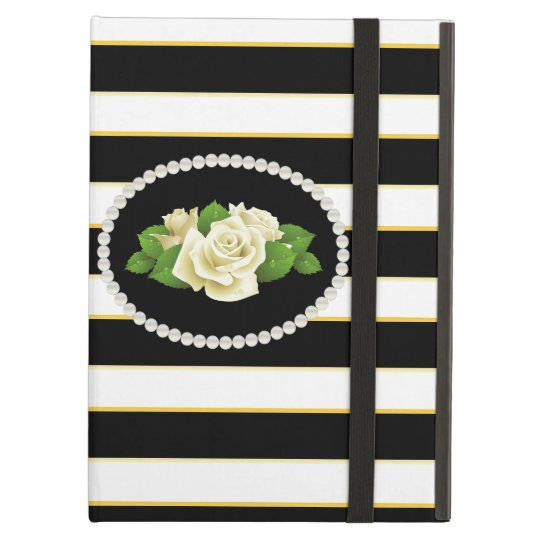 Elegant Black Stripe White Roses  Ipad Case