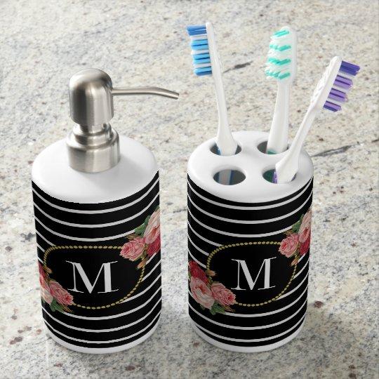 Elegant Black Striped Boho Chic Floral Monogram Soap Dispenser And Toothbrush Holder