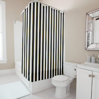 Elegant Black Striped Shower Curtain