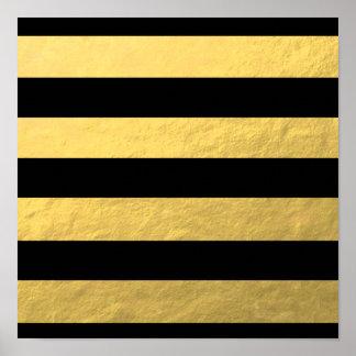 Elegant Black Stripes Gold Foil Printed Poster