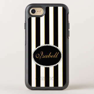 Elegant Black Stripes Monogram Case