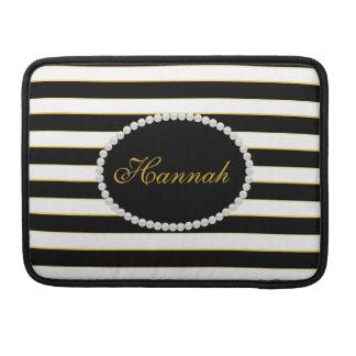 Elegant Black Stripes Monogram Macbook Sleeve