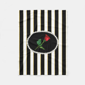 Elegant Black Stripes, Pearls & Red Rose Fleece