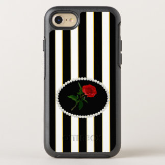 Elegant Black Stripes Red Rose Case