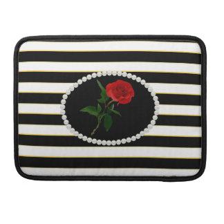 Elegant Black Stripes Red Rose Macbook Sleeve