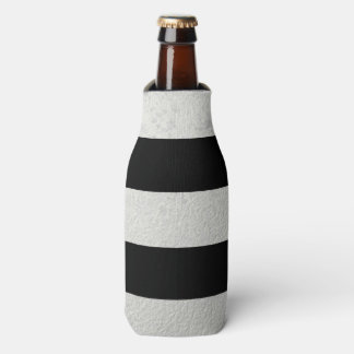 Elegant Black Stripes Silver Foil Printed Bottle Cooler