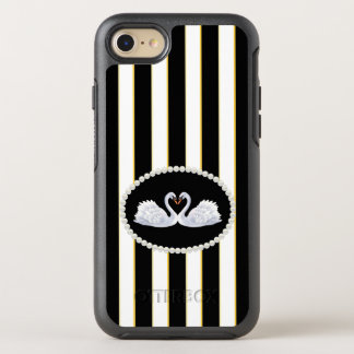 Elegant Black Stripes Swans Case