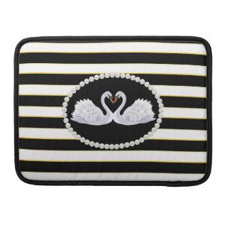 Elegant Black Stripes Swans Macbook Sleeve